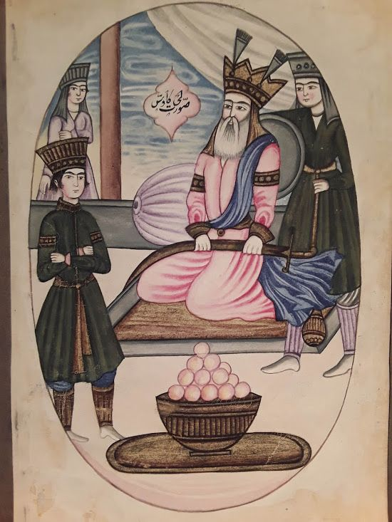 Qajar Miniature Watercolor of  A King with attendants