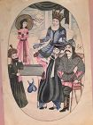 Qajar Miniature Watercolor of A King with attendants and Soldiers