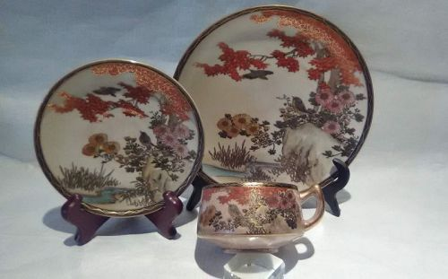 "Meiji Satsuma 3 piece tea set signed ""Red Leaves"""