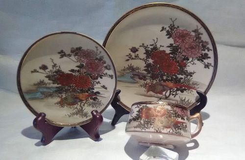 "Meiji Satsuma 3 piece tea set signed ""Pheasant"""