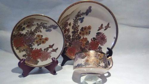 "Meiji Satsuma 3 piece tea set signed ""Chrysanthemum"""