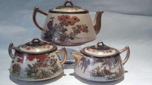 Japanese Meiji Satsuma 3 piece Tea set signed