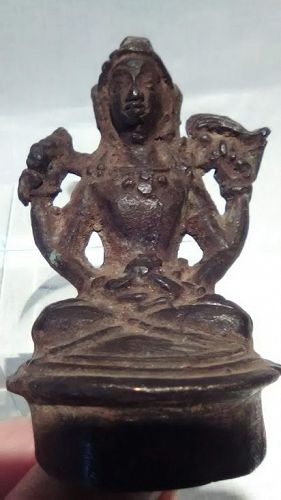 Hindu Bronze figure Chola - Javanese style seated figure
