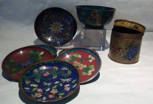 Antique Chinese cloisonne tobacco jar and coasters