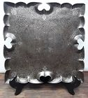 Early Mughal Iron and Silver Lotus shaped serving tray