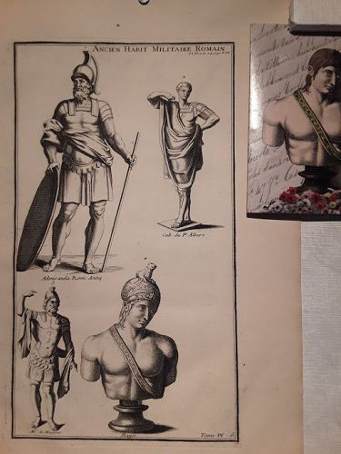 18thc Neoclassical engraved Roman soldier Prints designer lot #207