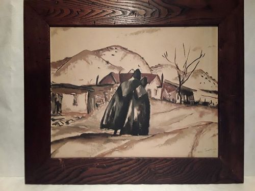 California artist Ross Shattuck Figures on a road signed and dated