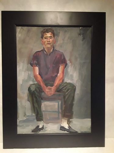 Mid Century Painting Young Man seated signed and dated