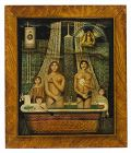"Jean Olivier B 1923 French Nief artist ""Parisian Family bath night """