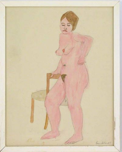 Rudy Burckhardt nude female standing with chair watercolor and pencil