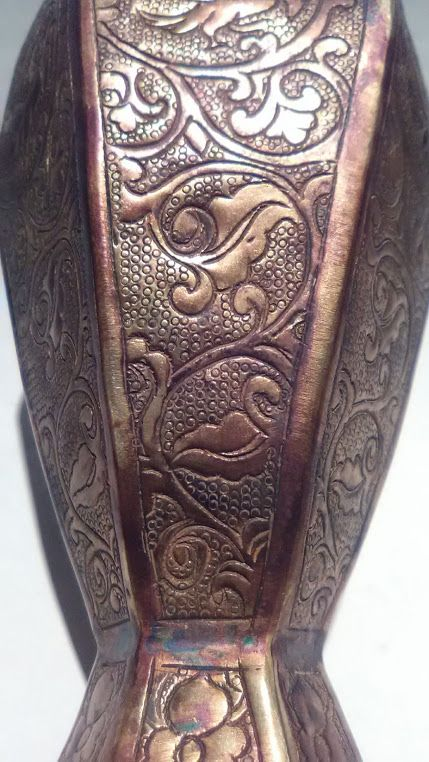 Tang Dynasty Style hand tooled metal vase with Ducks and florals