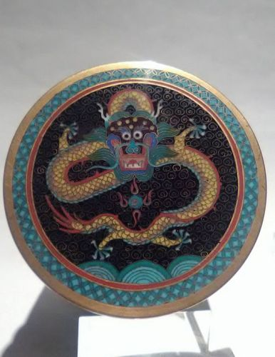 Fine Chinese Cloisonne 5 Claw Dragon Tea caddy Stash container humidor