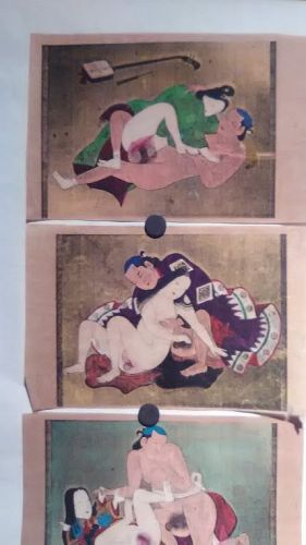 Japanese shunga group with watercolor and gold silver details #2