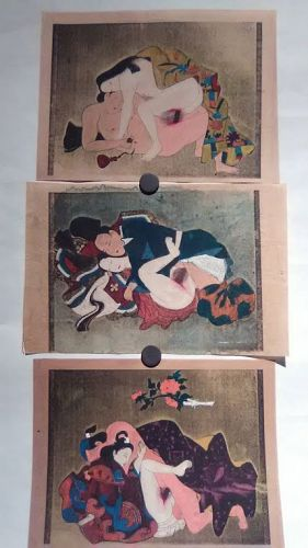 Japanese shunga group with watercolor and gold silver details #3