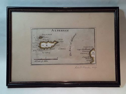 Antique Map of Alderney c1691 by Robert Morden