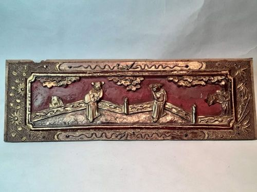 Chinese carved and lacquered architectural panel #2