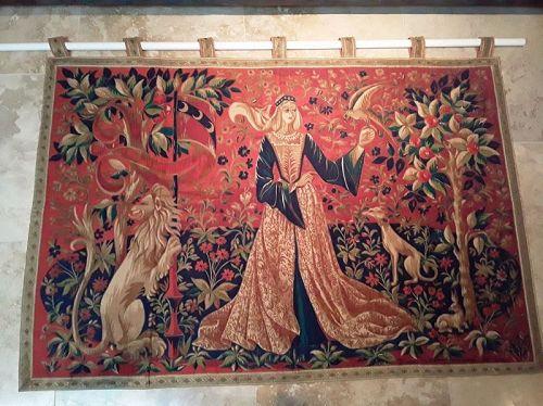 """1960s Italian """"La Dame de la Licorne """" style printed Tapestry"""