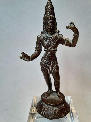 Hindu Chola style Shiva standing bronze figure