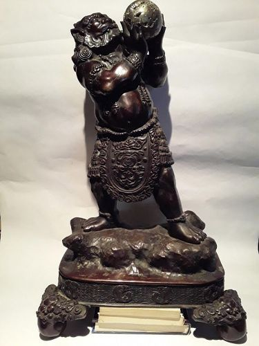 Huge Meiji Bronze Okimono of a Oni on stand