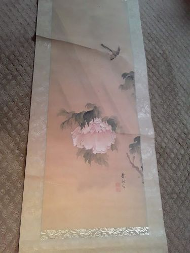 18th 19th c Japanese painted Scroll Peony and bird