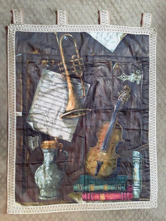 Mid century Italian printed Music Still life  Tapestry