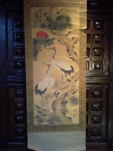Antique Japanese scroll of cranes in the folk art style