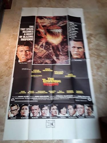 Rare 3 sheet Towering Inferno Movie poster near mint