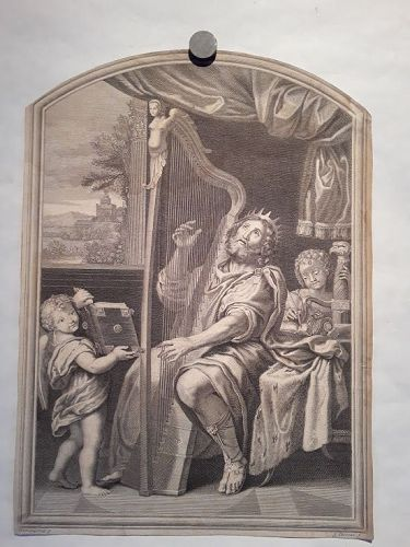 King David playing the harp By Jacques Chereau 1718-1729