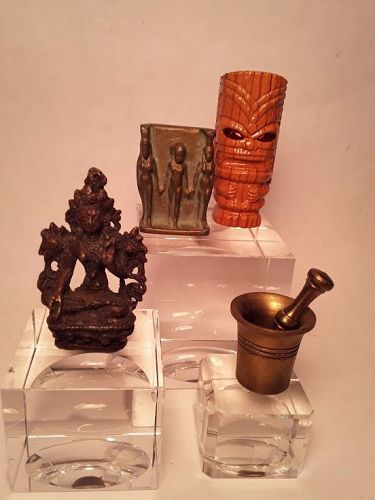 Group lot Buddhist Deity Egyptian bronze triad Tiki Lighter Mortar