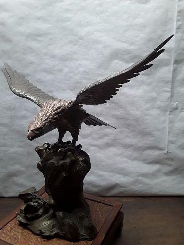 Japanese Meiji Bronze okimono Hawk on Rockery base signed