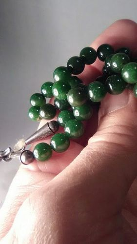 Antique - Vintage Jade bead necklace with Mexican silver clasp