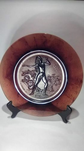 Daum French Crystal SEASONS Collector Plate ETE R. Corbin Amber