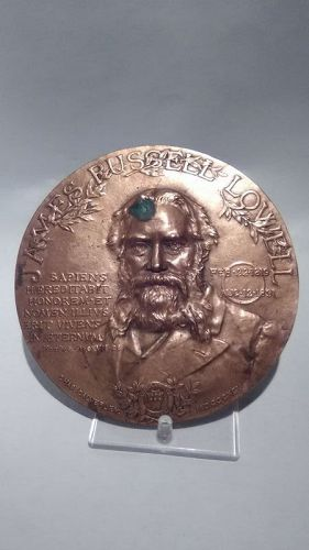 1895 James Russell Lowell Bronze Plaque,  by Charles Calverley