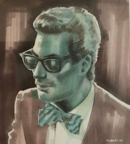 THOMAS FLUHARTY illustration on marker board of Huey Lewis