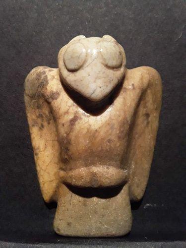Chinese Hongshan Chicken Jade Bone Owl Pendant