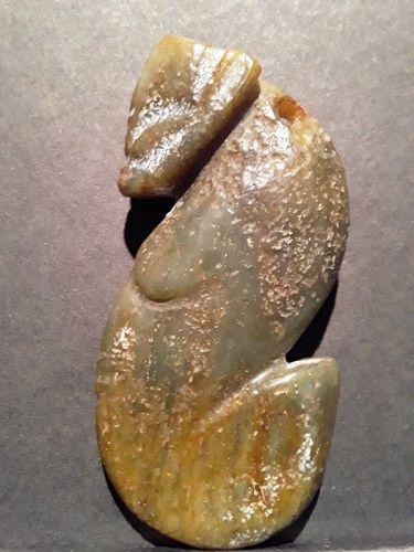 "Chinese Hongshan  green nephrite Dragon ""S"" or Embryo Shape"
