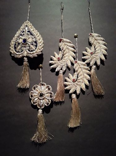 Near Eastern Mughal type silver threaded embroidered ornament tassels