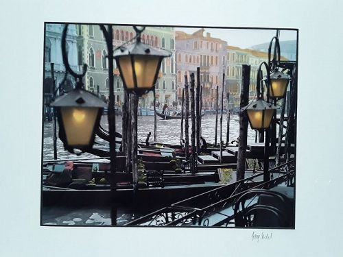 "Garry Seidel  ""Lamps and Gondolas"" Hand colored art Photograph signed"
