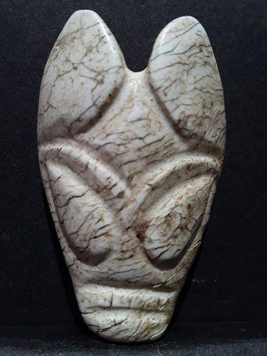 Hongshan Ox Dragon Mask Pendant in Chicken Bone Jade