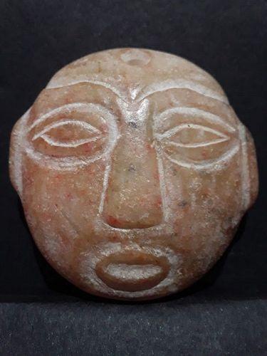 Large Hongshan Round disk Face Pendant in Orange Nephrite