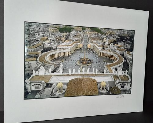 "Garry Seidel ""Vatican at Dusk"" Hand colored art Photograph signed"