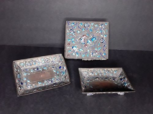 Chinese Copper Cloisonné Enamel Box and Trays smoke Set