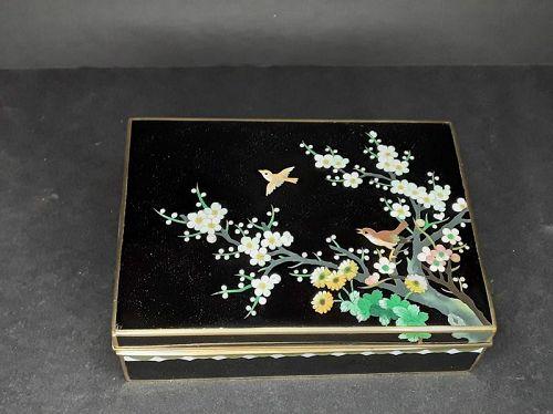 Japanese Inaba Marked Gilt Cloisonné Enamel Shippo Humidor Box