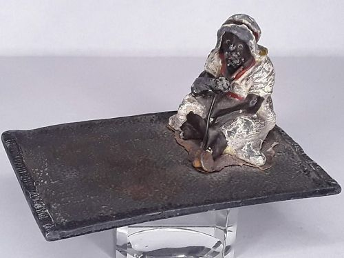 Austrian Cold Painted metal tray with Arab man smoking