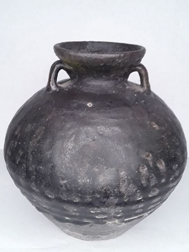 Rare Cambodian Khmer Thick glazed Lug Handle pot