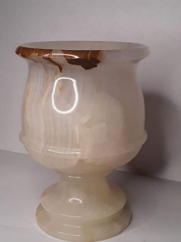 Mid Century Italian Cream and brown Onyx Votive candle lantern cup