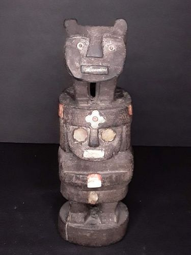 Chimu or Chancay style wood figure with inlay shell