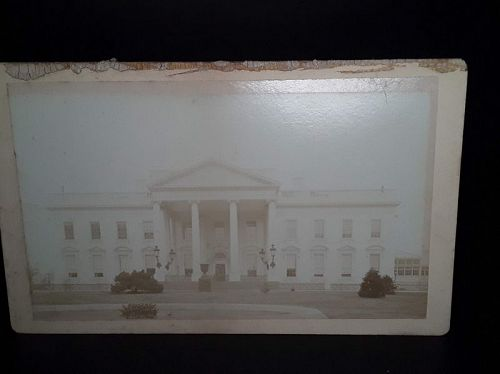 Original 1870s Cabinet card photograph of the White House