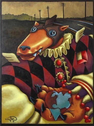 "Markus Pierson original painting ""Decade"" Jester Coyote"