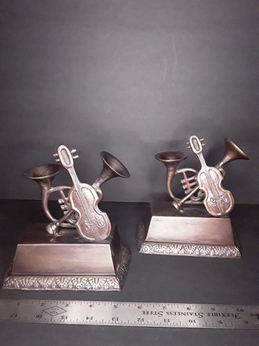 Bronze Musical Instrument Bookends - Trumpet, Violin, French Horn